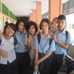 """Some of the 6th grade English class at the """"Smart School"""" in Bangkok"""