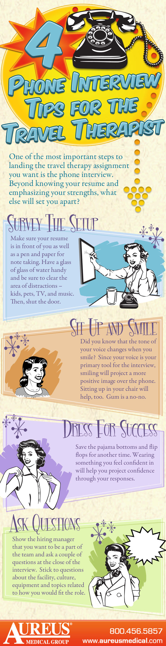 infographic > phone interview tips for travel therapy jobs aureus four phone interview tips for the travel therapist